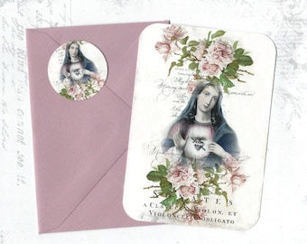 Note Cards, Religious Image, Madonna, Flat Note Card Set, Mary, Stickers