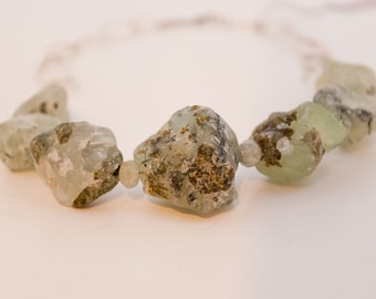 Green Prehnite and Sterling Silver Chain Necklace