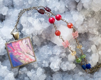 Rainbow Beaded Necklace with Abstract Mountain Photo Pendant