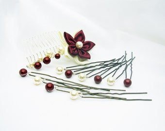 Comb and 10 peaks wedding pearls swarovski Burgundy and ivory flower satin double