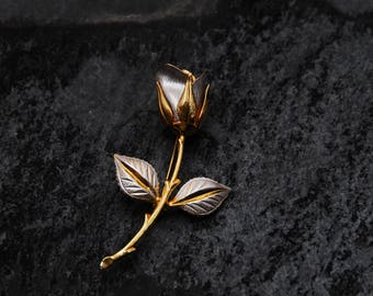 Vintage Brooch, Gold/Silver Solitary Rose