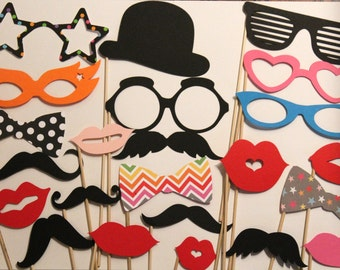 25 PhotoBooth Props, Mustache Party, Lips, Wedding Photo Booth, Props on a Stick Circus Carnival - F