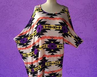 Asymmetrical Dress / Oversized Dress / Tunic / Shirt Dress / High Low Dress / Boho Dress / Tribal Print / Geo Print  - Medium/Large