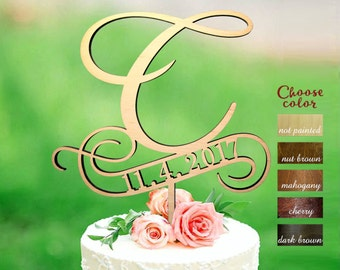 Letter c cake topper, wedding cake topper, cake toppers for wedding, rustic cake topper, cake topper letter c, cake topper wood date, CT#234