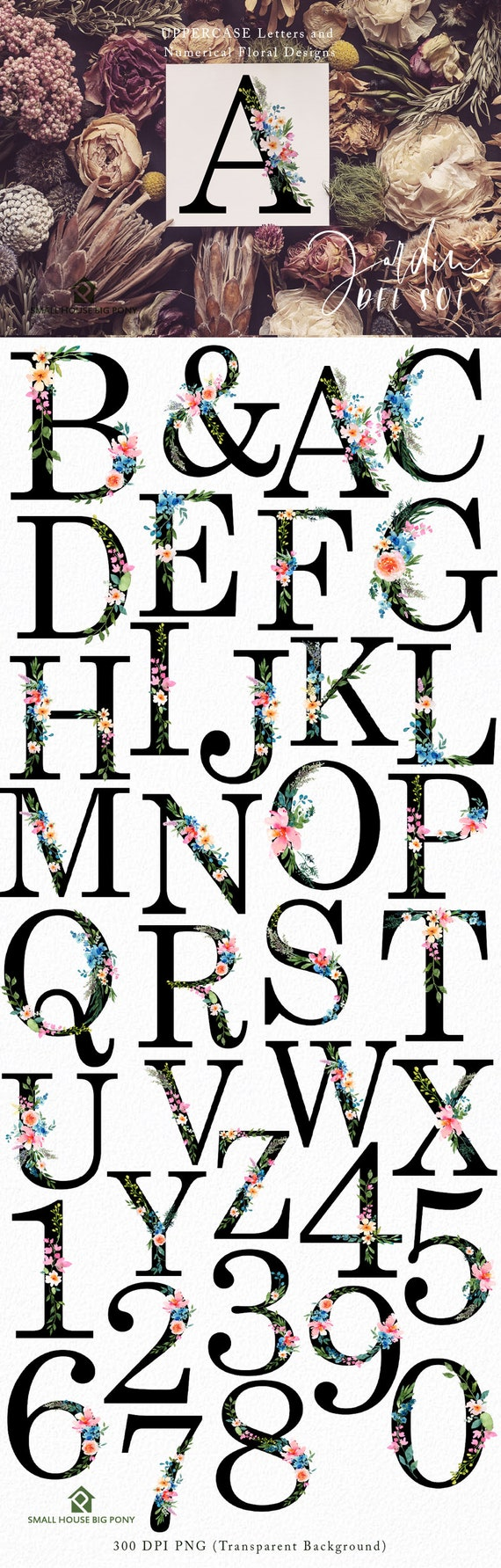 UPPERCASE Floral Alphabets, Numbers and Ampersand-  Jardin Del Sol Floral Alphabet, Floral Numbers and Ampersand