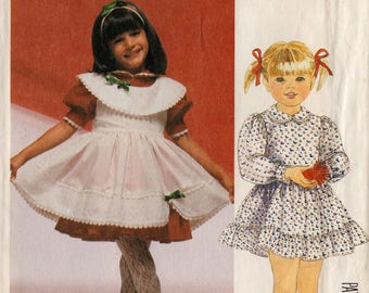 "Uncut 1986 Toddler Girls' DRESS & PINAFORE PATTERN McCall's #2772 Size 1-2-3 ""Enchanted Forest"" Easter Spring Fashion Vintage Sewing"
