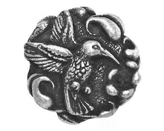 Hummingbird 7/8 inch ( 23 mm ) Pewter Metal Button