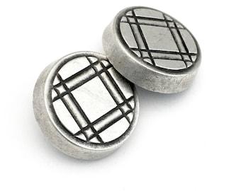 2 shank metal buttons,plaid pattern , antique silver ,28 x 6mm # BU 003