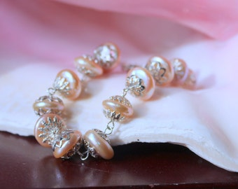Pink Baroque Pearl Silver Filigree Bracelet