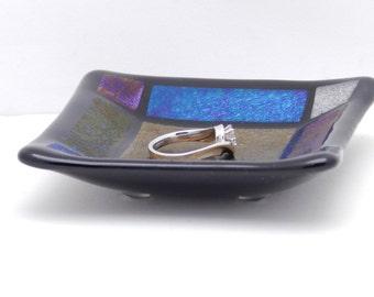 "Ring Dish, Jewelry Dish, Tea Bag Holder, Tea Bag Dish, Small Black Iridescent Glass Dish, 3-1/4"" Square, Inexpensive Gift Idea.  #21"