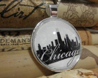 Chicago Skyline Necklace, Chicago Skyline Jewelry, Downtown Chicago Pendant