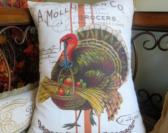 Beautiful Fall Turkey Pillow, Thanksgiving Grain Sack Pillow, Vintage Typography, Velvet Ties