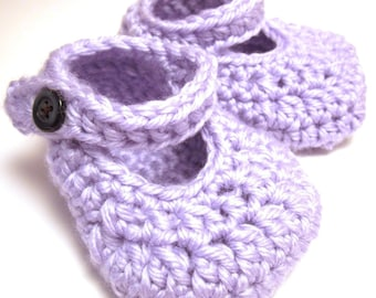 """Crochet Shoe Pattern """"Simple Mary Janes"""" Sizes Baby to Toddler"""