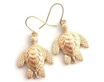 Gold Sea Turtle Earrings, Gold Turtle Earrings, Gold Turtle Charm, Turtle Lover, Turtle Collector