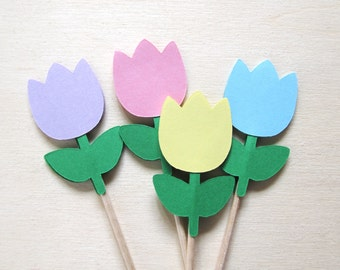 Spring Party Decor, Tulip Cupcake Toppers, Easter Decoration, Weddings, Showers, Birthdays, Pastel Flowers, Double-Sided, Set of 18