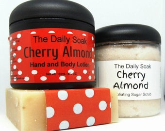 Mothers Day Gift Set, Soap gift set, Cherry Almond gift set, Soap, Lotion and Sugar Scrub gift set