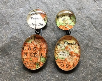 Vintage Los Angeles Earrings Maps Beverly Hills Venice Glendale Hollywood Sterling Silver Oxidized : Traveling Love Letters Free US Shipping