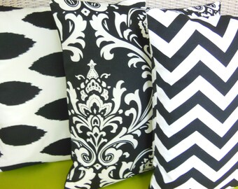 Black White Throw Pillow COVERS Decorative Pillow Black White Accent Cushion Covers Set of Three Pillow for Couch Sofa Bed Nursery