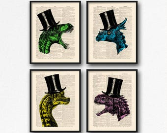 Dinosaur Print Set, Teen Boy Gift Poster, Dinosaur Art Poster, College Room Wall, Cool Dinosaurs, Christmas Print Gift, Coworker Gift S01