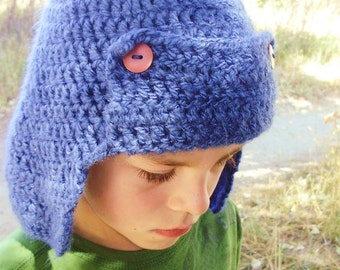 Blue Crochet Hunter Hat with Earflaps - hunting cap for men - trapper hat for men - winter hat for boys