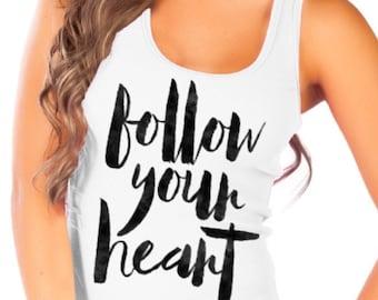 Fashion Vixen Follow Your Heart White Tank Top - Available in S M L XL Plus Size 1x 2x 3x 4x 5x