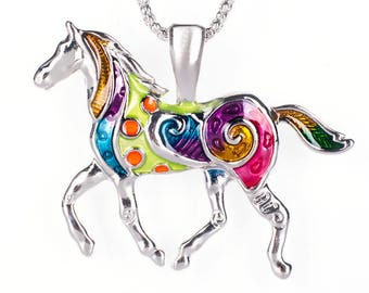 Horse of many colors, colorful enamel prancing pony necklace