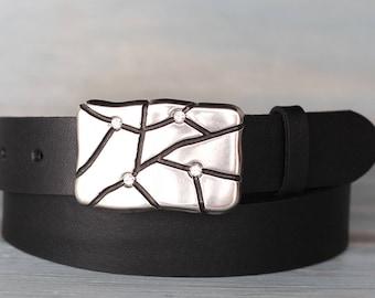 Leather Belt, Black Leather Belt, Mens Belt, Womens Belt