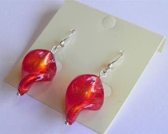 Flame red glass twist sterling silver drop earrings