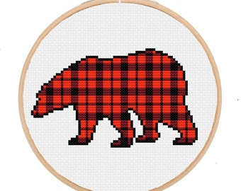 PDF Buffalo Check Bear Lumberjack Baby Room Nursery Cross Stitch Downloadable Digital Pattern