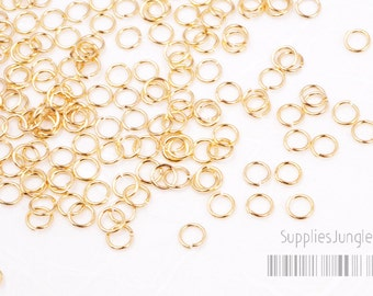 A011-G// Gold Plated Jumpring, 24 Gauge, 4mm, Glossy, 300 Pc