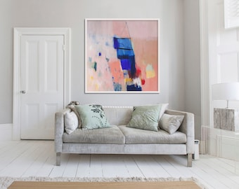 """ABSTRACT print, LARGE GICLÉE print, beige, blue, """" She's My Muse"""""""