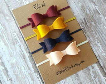 Baby-girl bow headband, baby headband, baby bow headband, bow headband, girl bow headband, infant headband, Newborn headband, felt bow