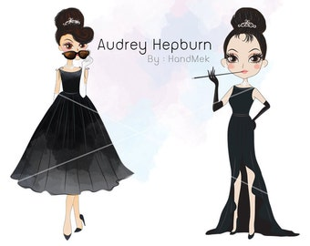 Audrey Hepburn clipart  instant download PNG file - 300 dpi