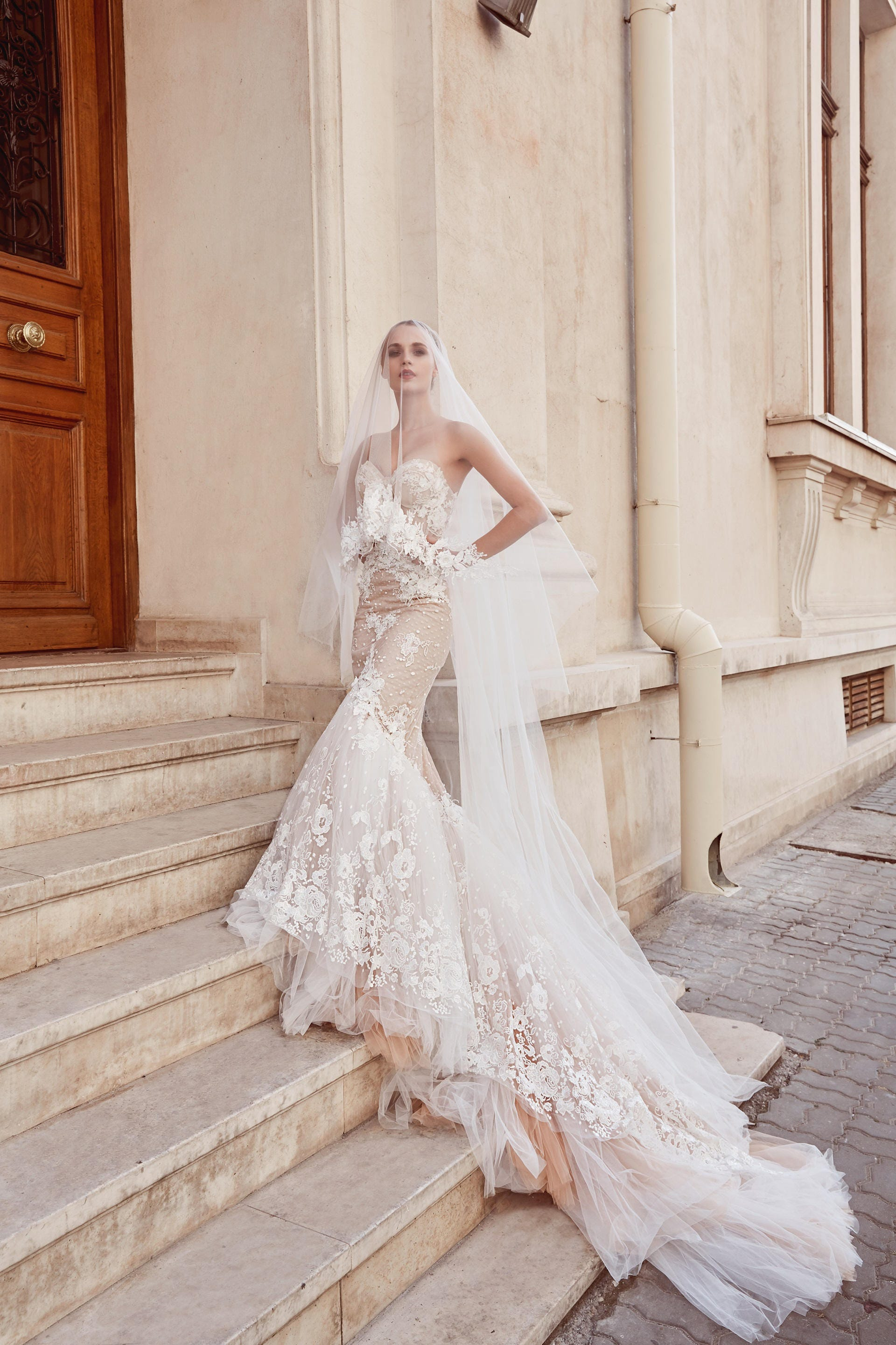 Lace Mermaid Wedding Dress Strapless Low Back Wedding Gown