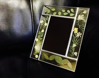 Scrying Mirror in Pressed Leaves and Flowers Frame