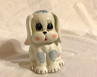 Kitschy 1990s Doggy Bank Hand Painted White and Blue Dog Piggy Bank Figurine Collectable Animal Porcelain Bank