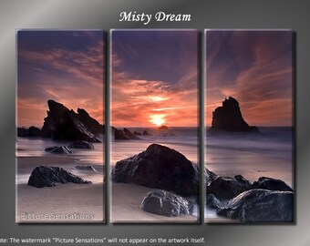 Framed Huge 3 Panel Stunning Ocean Coast Misty Dream Giclee Canvas Print - Ready to Hang