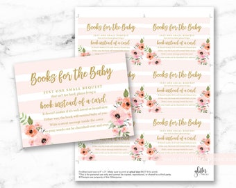 Pink stripe floral baby shower book request cards printable, books for baby insert, bring a book instead of a card DIY, INSTANT DOWNLOAD 012