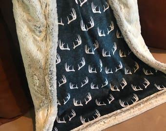 Navy Deer Antlers Baby Blanket