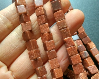 Synthetic Gold Sand Stone Cube beads 6x6x6mm- approx 65pcs/Strand