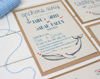 Whale of a Time, Wedding Invitations, Handmade Wedding Invitations, , Beach Wedding, Marine Wedding, Sea  Wedding, nautical wedding