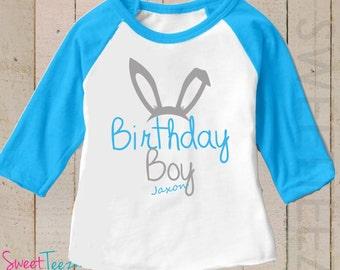 Easter Birthday Boy Shirt Bunny Shirt Blue Raglan 3/4th Sleeve Personalized Shirt Toddler Youth Shirt