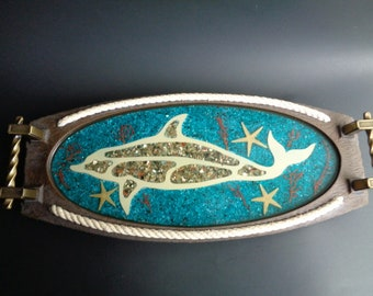 Vintage Nautical Dolphin Lucite Tray or Platter with Handles
