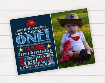 Cowboy Birthday Party Invitation, Little Cowboy, Cowboy Invitation, Cowboy Party, Cowboy 1st Birthday, 1st Birthday Invitation with Photo