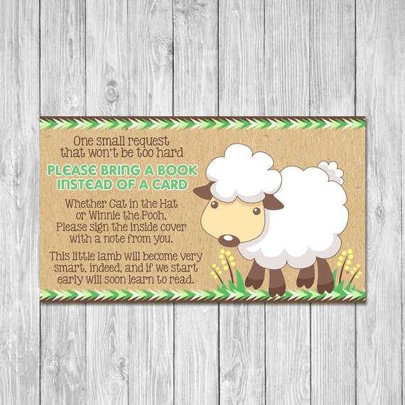 Little Lamb Baby Shower Book Insert Card - Baby Shower Please Bring a Book Instead of a Card - Neutral Baby Shower Invite Insert Boho Baby