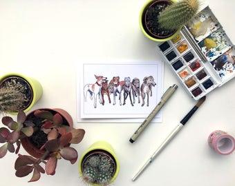 Greyhound card, Galgo card, greyhound art, Greyhound gift, Sighthound card, Sighthound gift, Greyhound drawing, Greyhound owner, Greyhound,