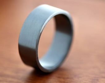 Men's Silver Wedding Band, 8mm Wide, Simple Flat Band Recycled Argentium Oxidized Sterling Silver Ring - Made in Your Size