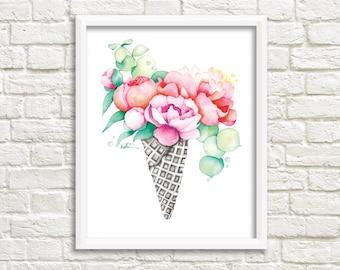 Affiche 8 x 10 Cornet gaufré pivoines / Illustration bouquet fleurs / Reproduction dessin aquarelle / Katrinn Illustration