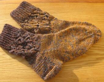 Hand knit  melange wool women's socks.