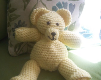 Yellow stuffed teddy bear-hand crocheted